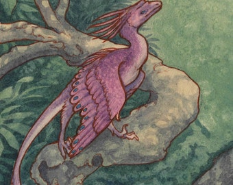 "Limited Edition Archival ACEO Print ""Fae Dinosaur"" cute feathered raptor fantasy nature art"