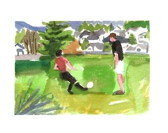 Kids playing soccer- original watercolor painting