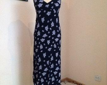 Vintage Slip Dress Long Slip Dress Midi Sleeveless Monochrome M Medium