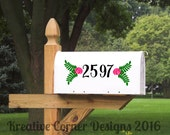 Mailbox Numbers with Floral Accents Wall Decal