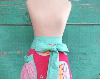 Towel Apron - Hostess Apron - Pool Party - Pink Fish -Pink & Blue