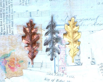 Leaf Tie Tack, Oak Leaf Brooch, Leaf Lapel Pin, Autumn Wedding, Groomsmen, Oak Leaf, Woodland Jewelry, Copper, Silver, Rustic, Gift for Him