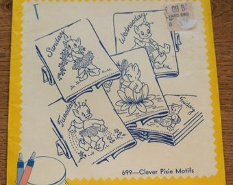 Vintage 50s 60s Aunt Martha's Embroidery Transfers 699 clever Pixies  unused