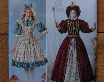 2010 simplicity patten 2325 misses Alice in Wonderland costume sz 6-12 Alice Queen of hearts uncut