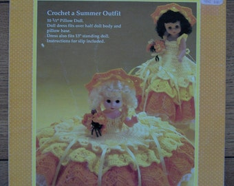 "Vintage 1989 Fibre craft Crochet pattern MERRY SUNSHINE doll clothes for 13"" doll or 10 1/2"" pillow doll"