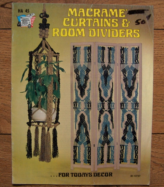 Vintage 70s Macrame Curtains And Room Dividers Bookcase And