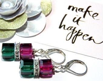 Elegant Swarovski Crystal Cube Earrings-Emerald and Fuchsia