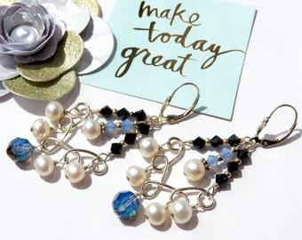 Black/Opal Swarovski Crystal Sterling Silver Earrings