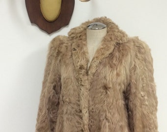 Vintage Curly Lamb Fur Coat - Leyson Furs New York - Fur Winter Coat - Status Glam Glamorous - Monogrammed Jacket - Caramel Coat - 38 Bust