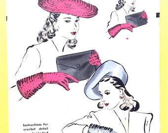 Hollywood 1003 1940s Vintage Hat Large Beret Gloves Vintage Sewing Pattern Medium