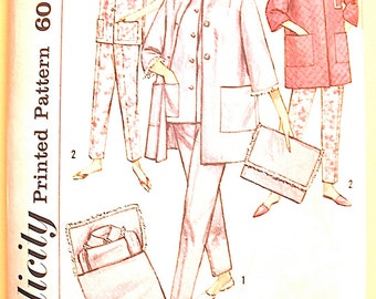 Uncut Simplicity 4184 1960s Misses' Pajamas and Robe Vintage Sewing Pattern   Bust 36