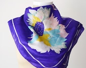PURPLE 1970s Bebe London Floral Indian Silk Scarf