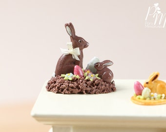 MTO-Chocolate Easter Rabbit Family Display (H) - Miniature Food in 12th Scale for Dollhouse