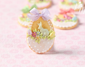 "MTO-Easter Egg Shortbread Sablé ""Basket"" Cookie (H) - Miniature Food in 12th Scale for Dollhouse"