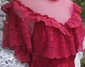 Victorian style 1980s 80s prom dress in a cherry burgundy red