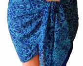 Beach Sarong Pareo Wrap Batik Sarong Skirt Short Swimsuit Coverup - Chiffon Sarong - Blue and Turquoise Sarong Skirt - Womens Swimwear