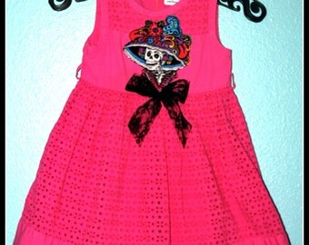 Girls Rockabilly Dress in Day of the Dead Pink ........Size 4