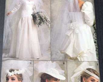 Vogue 9822 Misses' Bridal Veil and Headpiece Sewing Pattern, Wedding Accessory, One Size, Uncut Pattern