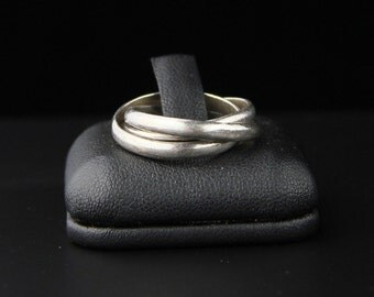 Vintage 80's Sterling Silver Russian Weedding Trinity Band - Triple Band Ring Size 7.5