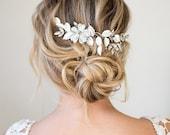 Silver Hair Halo Hair Vine, Grecian Hair Wreath, Boho Silver Flower Hair Jewelry, Wedding Hair Vine  - 'APRIL'