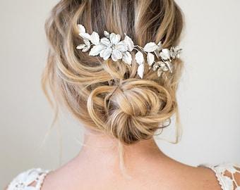 Silver or Gold Hair Halo Hair Vine, Grecian Hair Wreath, Boho Gold Silver Flower headband, Wedding Hair Vine  - 'APRIL'
