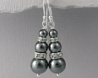 Dark Grey Pearl Earrings, Bridesmaid Earrings, Charcoal Grey Wedding Earrings, Dark Grey Bridal Earrings, Swarovski Dark Grey Pearl Earrings