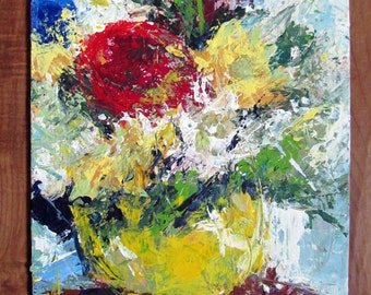 Flowers Still Life Original Contemporary Palette Knife Acrylic Painting 8x10 inches Canvas Board by Anne Thouthip Free Shipping USA
