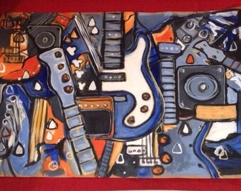 Bass Guitar Painting in Blue & Orange Acrylic on brown paper Music Gift