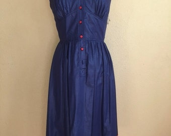 Vintage DEADSTOCK Sailor ROCKABILLY Dress / Blue and Red Sleeveless Midi / Fit and Flare / Womens Size Small