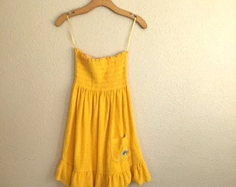 Vintage MARIGOLD YELLOW Tube Top / Strapless Beach Cover Up / Womens Small Medium