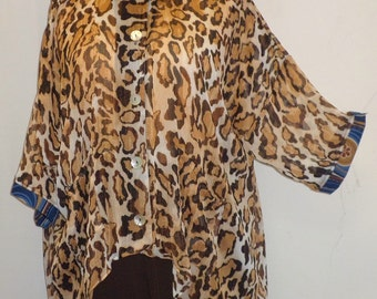 Coco and Juan, Plus Size Top, Lagenlook, Brown, Leopard Print, High Low,  Plus Size Shirt Jacket, women's Top, OS 1X 2X 3X Bust to 64 inches