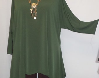 Coco and Juan, Lagenlook, Plus Size Top, Olive, Traveler Knit Drape Side, Womens Tunic Top, One Size, Bust  to 60 inches