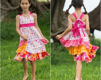 Spring Ruffle Sundress for Girls - Hot pink & Orange - Easter - Summer - Sleeveless - Special Occasion - Party - Pictures - Floral -Handmade