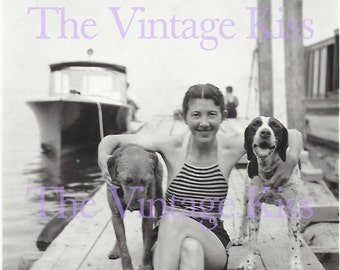 Dogs on the Dock Lady Swimsuit Boat Photograph Photo Swim Pets Woman Digital Download