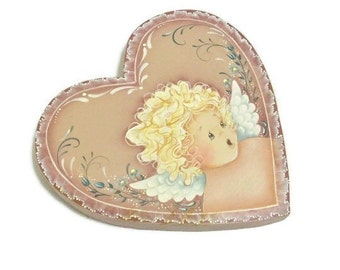 Angel Heart Plaque   Sweet Hand Painted Angel