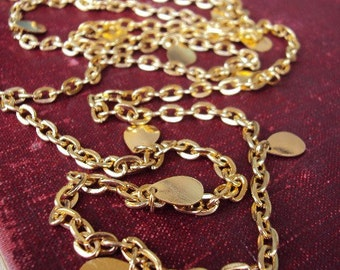 Vintage Long Chain Necklace disc Charms Medallions Versatile Layered Style 1960s 1970s Gold Tone Metal Gypsy Layering Costume Jewelry