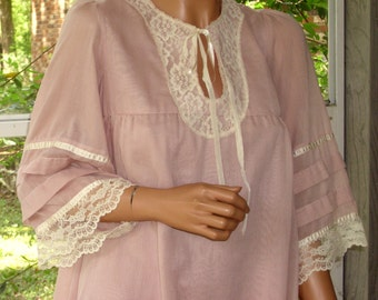 Gunne Sax Dress Tent Style Dusty Rose for the Spring with Lace, Ribbon and Pintucking
