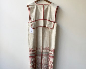 Antique embroidered greek tunic cape apron