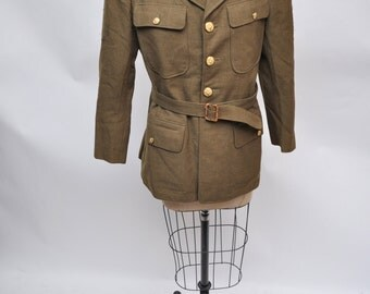 vintage wool coat WWII eisenhower jacket ike WW2 dated 1940 size 37  s