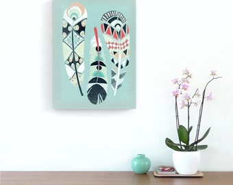 Home Wall Decor Nursery Art, Native American Art Print, Three Feathers, Framed Canvas Wall Art Print, nursery, baby, gift idea MCNA1