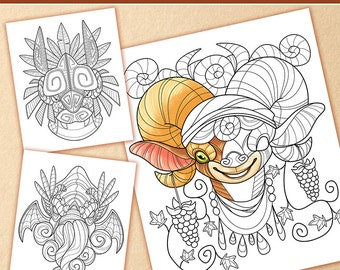 Curious creatures adult coloring book color colouring colour fantasy