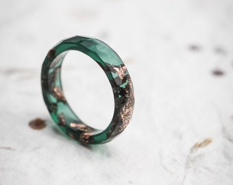 Dark Jade Green Stacking Resin Ring Deep Moss Green with Rose Gold Flakes Faceted Ring OOAK pine green minimal chic minimalist jewelry