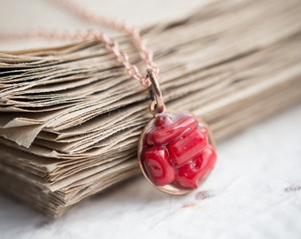 Red Coral Necklace Boho Pendant Rose Gold Necklace christmas gift modern raw minimalist jewelry