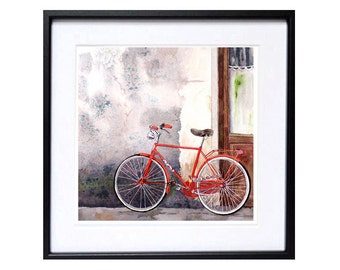 Bike Painting Watercolor Print  Florence Italy. Gray painting wall art  Red bicycle travel road trip  Italian door Home decor