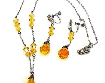 Art Deco Golden Topaz Briolette Set