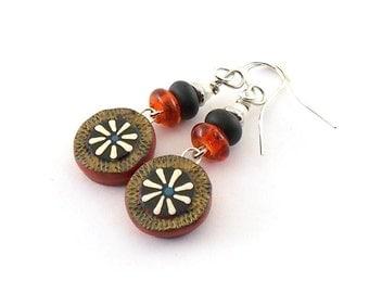 Handmade Earrings, Polymer Clay Earrings, Red and Black Earrings, Silver Earrings, Artisan Earrings, Boho Earrings, Antique Silver, AE180