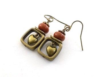 Brick Red Heart Earrings - Brass Earrings - Red Earrings - Lampwork Earrings - Antique Brass Earrings -Boho Earrings - Brass Jewelry - E072