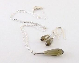 Topaz Crystal Necklace Set - Pure Drop Trumpet Necklace Set - Sterling Silver Necklace Set -Swarovski Necklace Set - NS015
