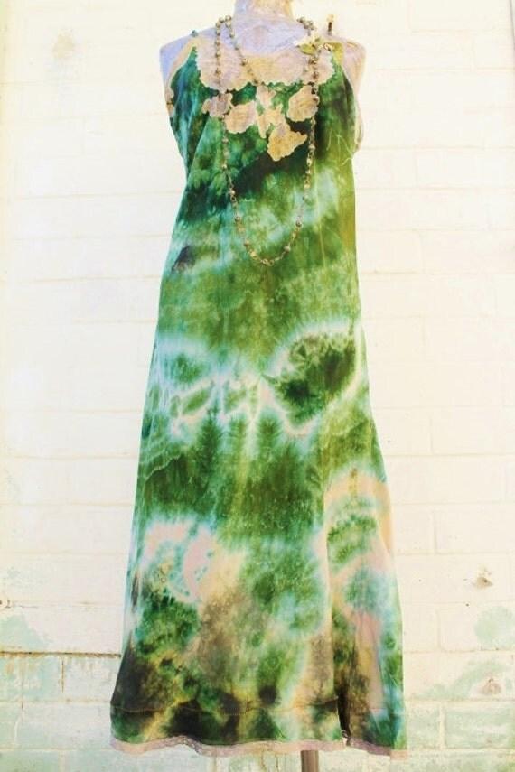 Large Green Earth Romantic Dress/Maxi Dress/Couture/Paris Fashion/Tie Dye Slip Dress/Green Maxi Dress/Music Festival Wear/Green Goddess