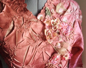 breathtaking top, wearable art, couture clothing, fantasy elven, fall colours, hand embellished, flowers ribbons, embroidered appliques